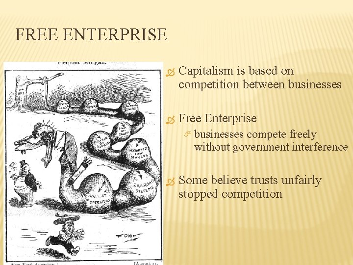 FREE ENTERPRISE Capitalism is based on competition between businesses Free Enterprise businesses compete freely