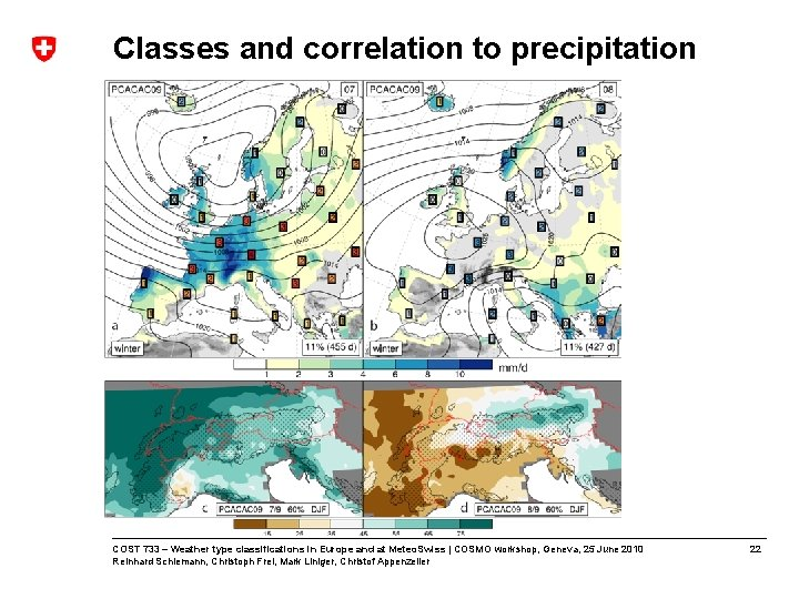 Classes and correlation to precipitation COST 733 – Weather type classifications in Europe and