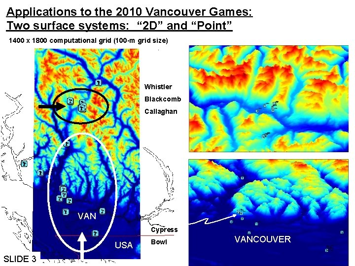 """Applications to the 2010 Vancouver Games: Two surface systems: """" 2 D"""" and """"Point"""""""