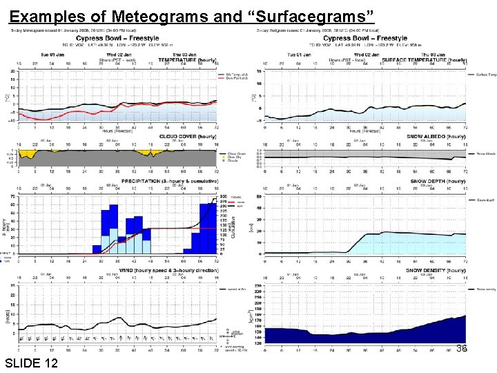 """Examples of Meteograms and """"Surfacegrams"""" 36 SLIDE 12"""