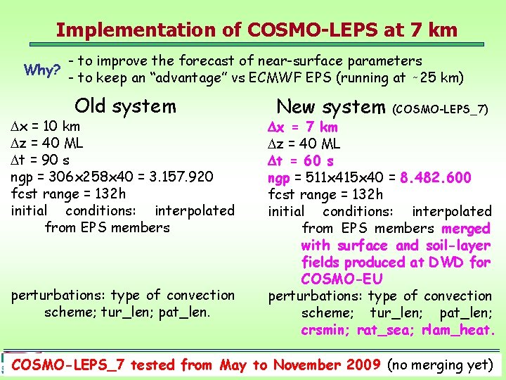 Implementation of COSMO-LEPS at 7 km Why? - to improve the forecast of near-surface