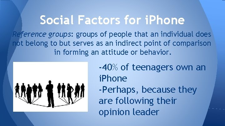 Social Factors for i. Phone Reference groups: groups of people that an individual does