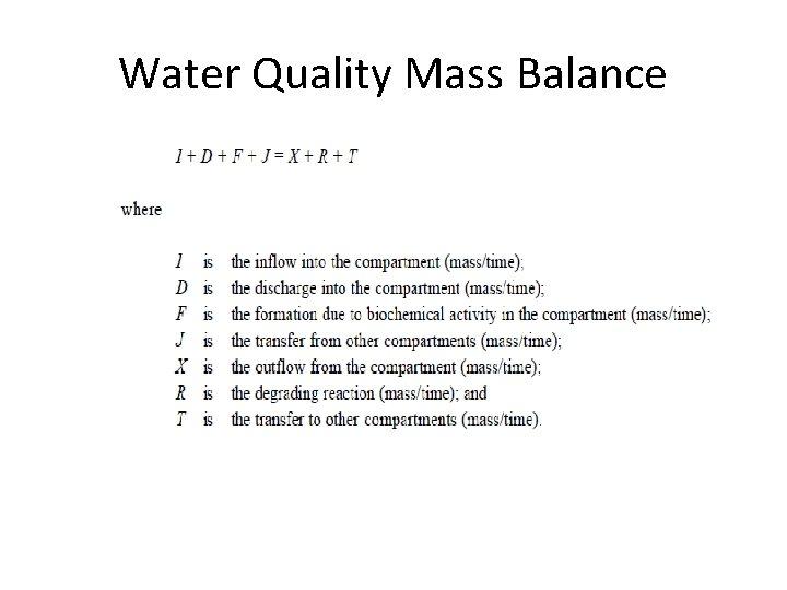 Water Quality Mass Balance