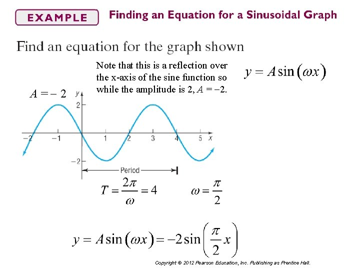 A= 2 Note that this is a reflection over the x-axis of the sine