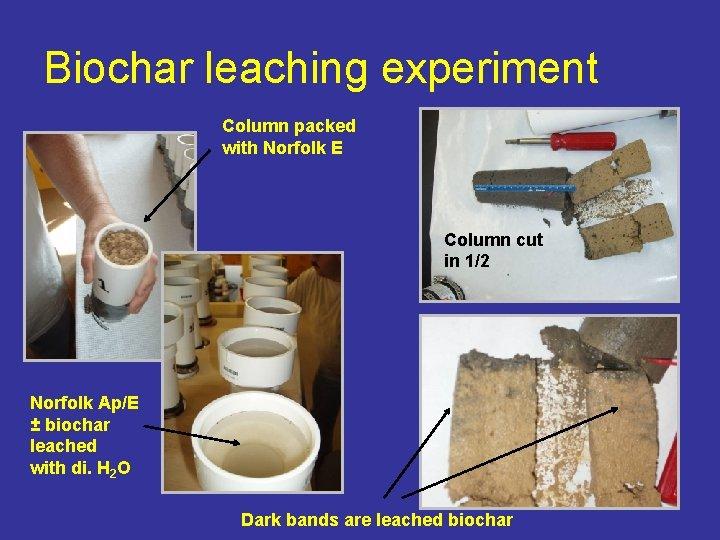 Biochar leaching experiment Column packed with Norfolk E Column cut in 1/2 Norfolk Ap/E