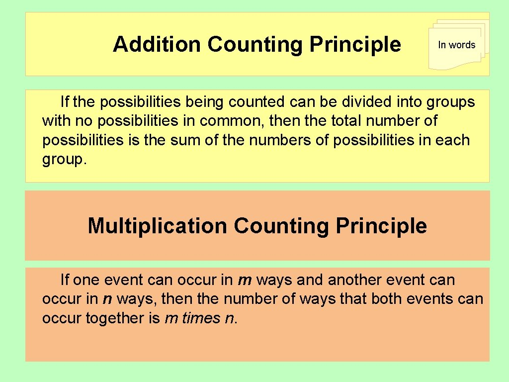 Addition Counting Principle In words If the possibilities being counted can be divided into
