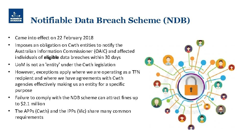 Notifiable Data Breach Scheme (NDB) • Came into effect on 22 February 2018 •