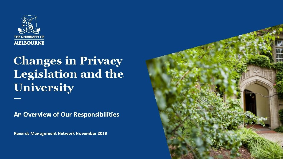 Changes in Privacy Legislation and the University An Overview of Our Responsibilities Records Management