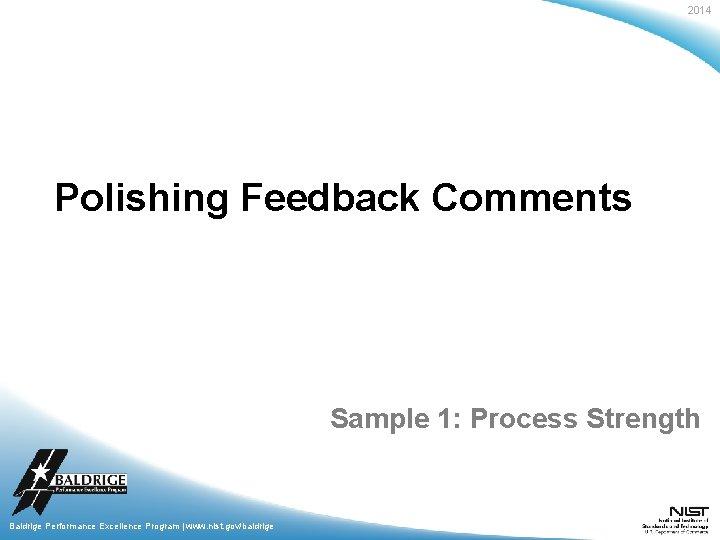2014 Polishing Feedback Comments Sample 1: Process Strength Baldrige Performance Excellence Program | www.