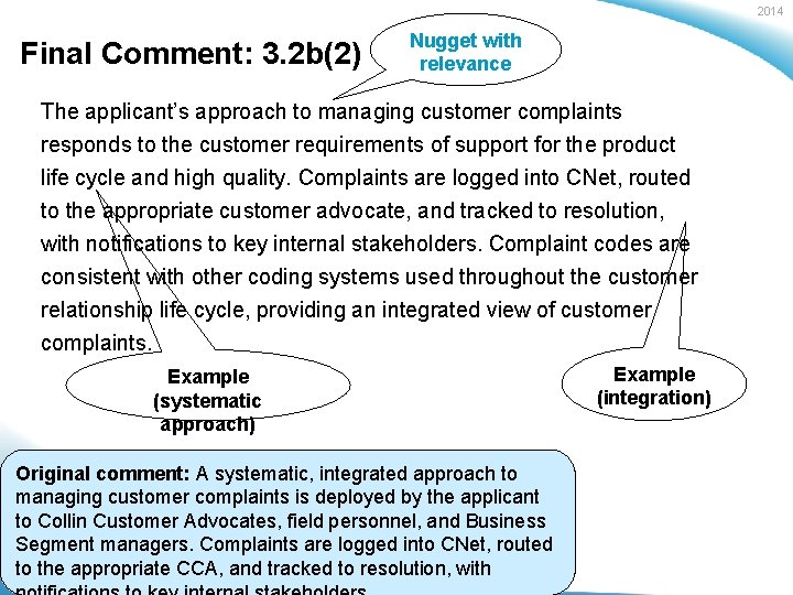 2014 Final Comment: 3. 2 b(2) Nugget with relevance The applicant's approach to managing