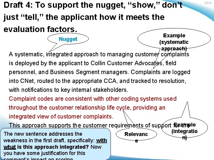 """Draft 4: To support the nugget, """"show, """" don't just """"tell, """" the applicant"""