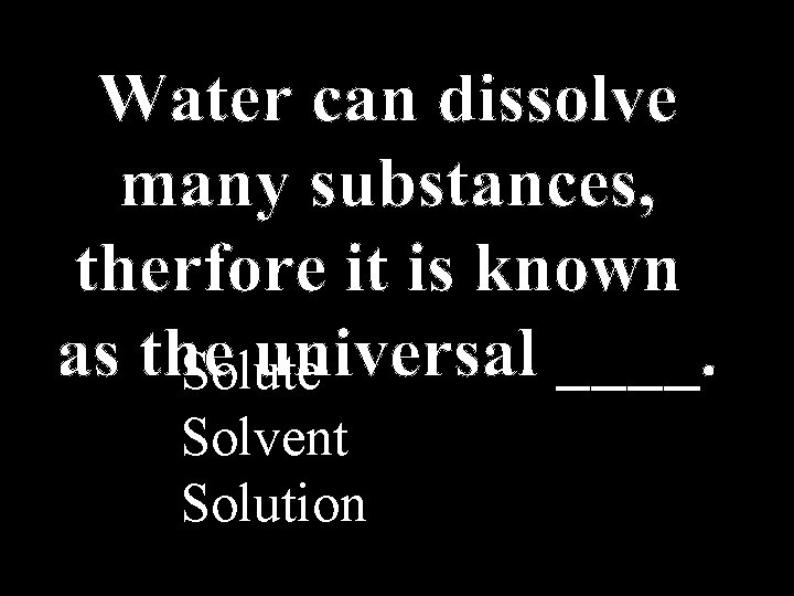 Solute Solvent Solution
