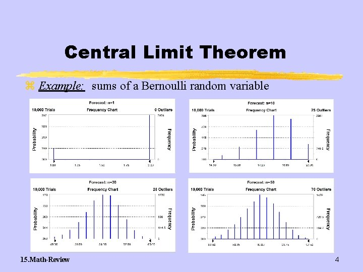 Central Limit Theorem z Example: sums of a Bernoulli random variable 15. Math-Review 4