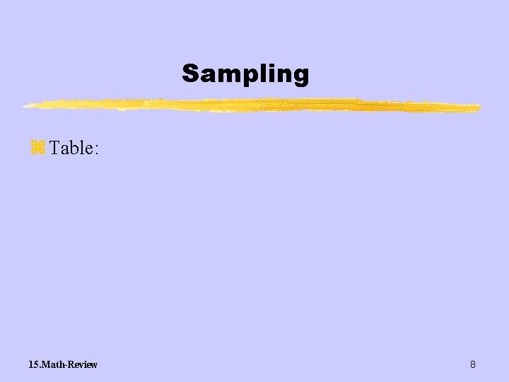 Sampling z Table: 15. Math-Review 8