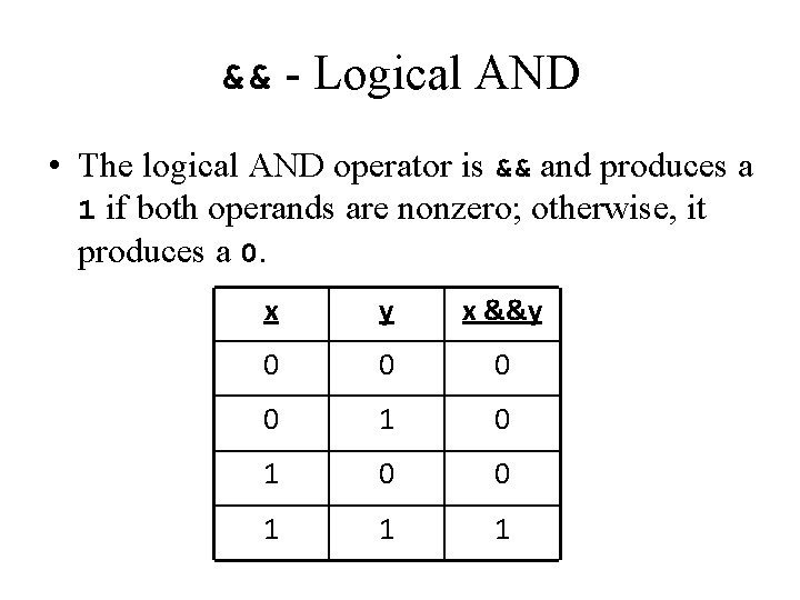 && - Logical AND • The logical AND operator is && and produces a