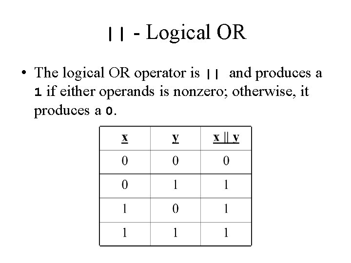 || - Logical OR • The logical OR operator is || and produces a