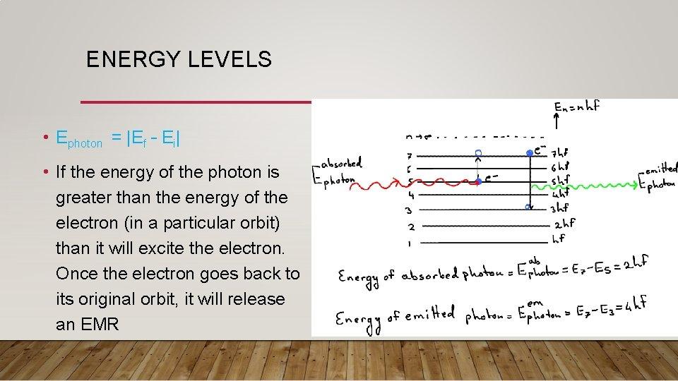 ENERGY LEVELS • Ephoton =  Ef – Ei  • If the energy of the