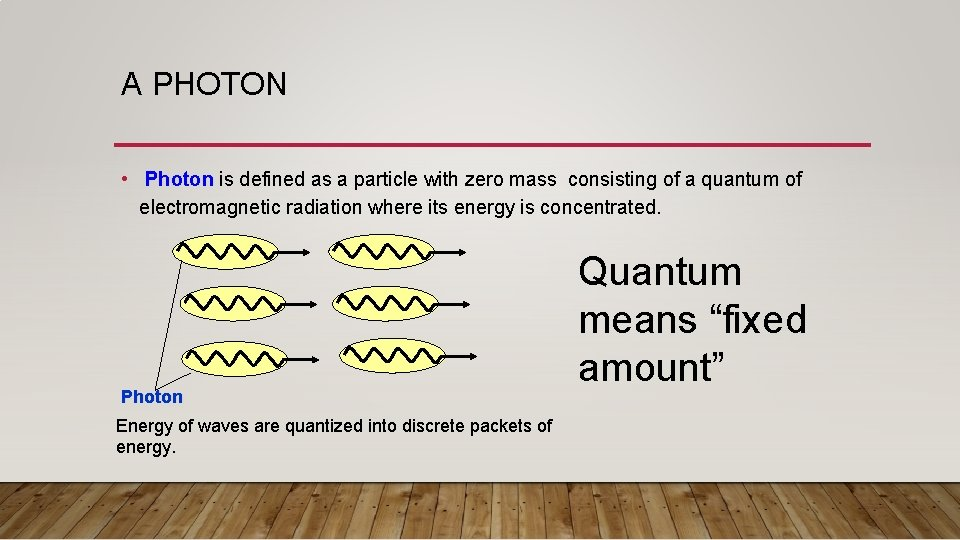 A PHOTON • Photon is defined as a particle with zero mass consisting of