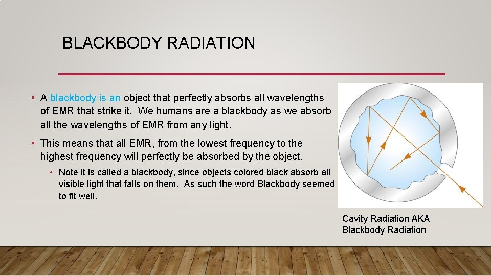BLACKBODY RADIATION • A blackbody is an object that perfectly absorbs all wavelengths of