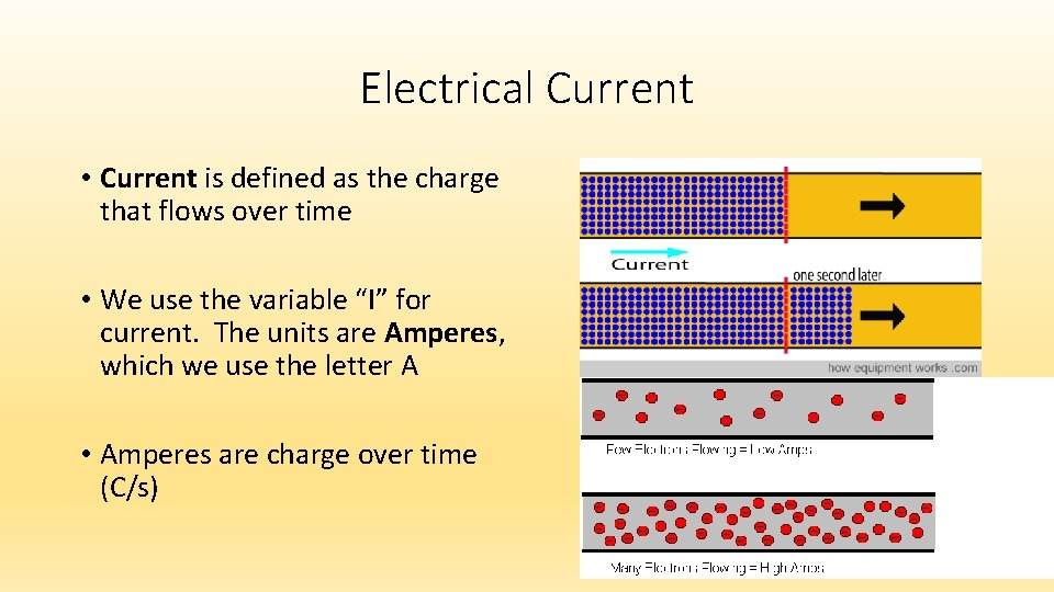 Electrical Current • Current is defined as the charge that flows over time •