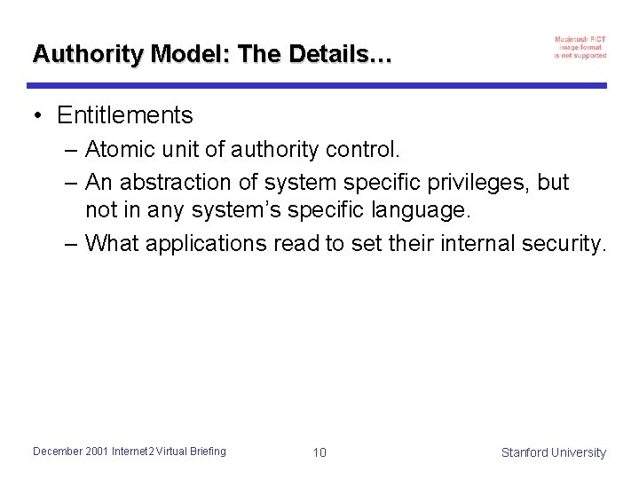 Authority Model: The Details… • Entitlements – Atomic unit of authority control. – An