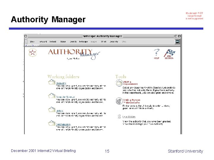 Authority Manager December 2001 Internet 2 Virtual Briefing 15 Stanford University