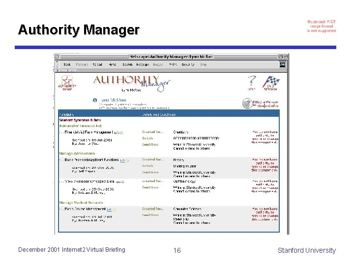 Authority Manager December 2001 Internet 2 Virtual Briefing 16 Stanford University