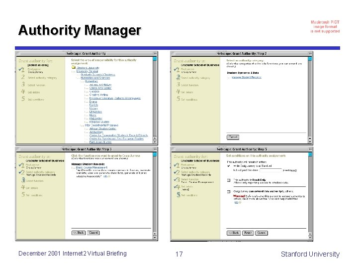 Authority Manager December 2001 Internet 2 Virtual Briefing 17 Stanford University
