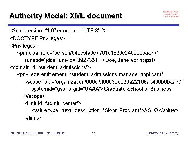 """Authority Model: XML document <? xml version="""" 1. 0"""" encoding=""""UTF-8"""" ? > <DOCTYPE Privileges>"""