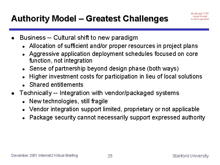 Authority Model – Greatest Challenges l l Business -- Cultural shift to new paradigm