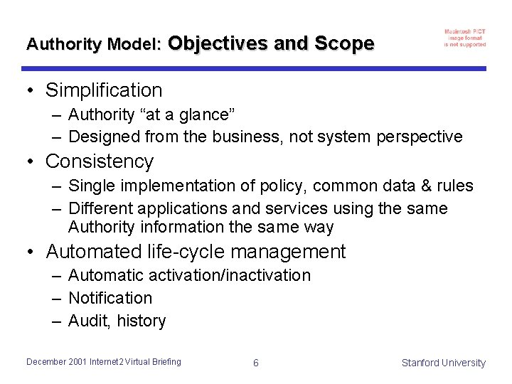 """Authority Model: Objectives and Scope • Simplification – Authority """"at a glance"""" – Designed"""