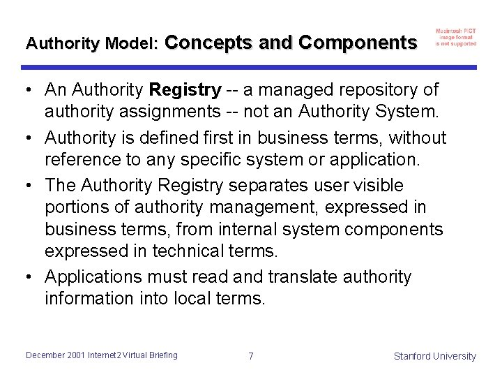 Authority Model: Concepts and Components • An Authority Registry -- a managed repository of