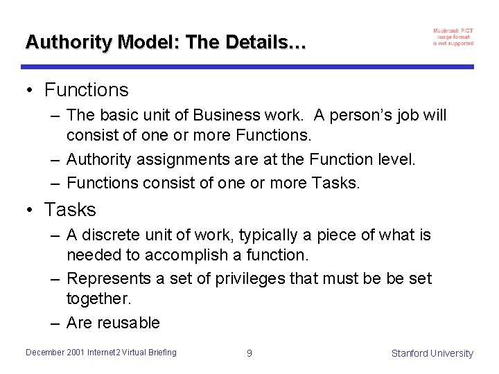 Authority Model: The Details… • Functions – The basic unit of Business work. A