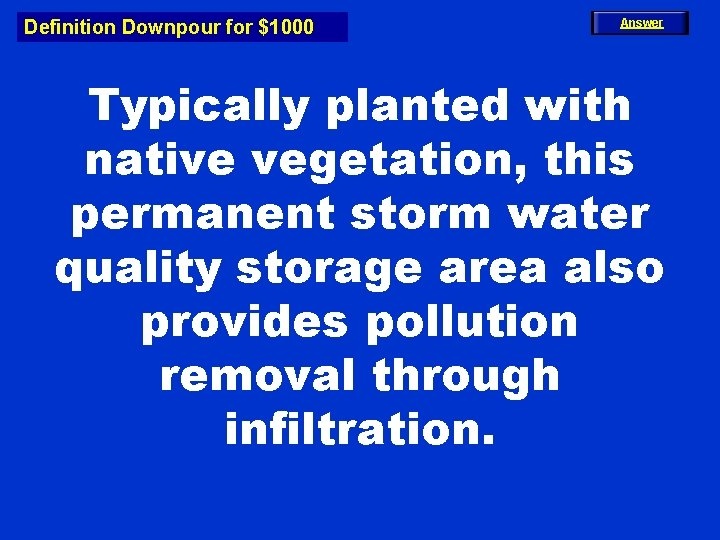 Definition Downpour for $1000 Answer Typically planted with native vegetation, this permanent storm water