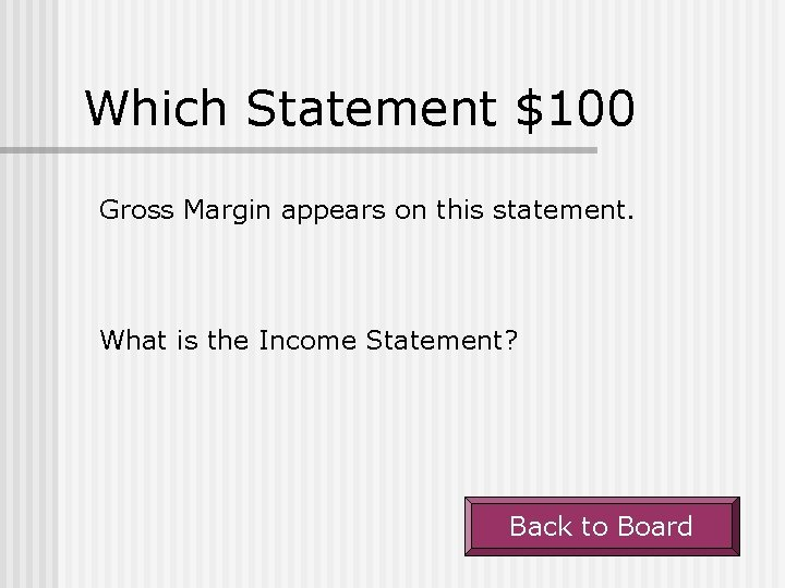 Which Statement $100 Gross Margin appears on this statement. What is the Income Statement?