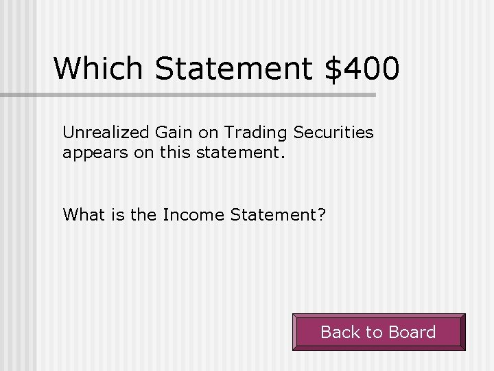 Which Statement $400 Unrealized Gain on Trading Securities appears on this statement. What is