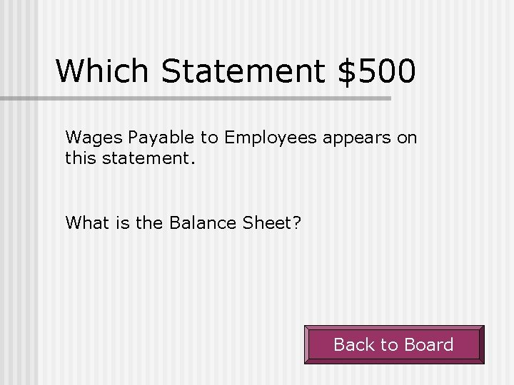 Which Statement $500 Wages Payable to Employees appears on this statement. What is the