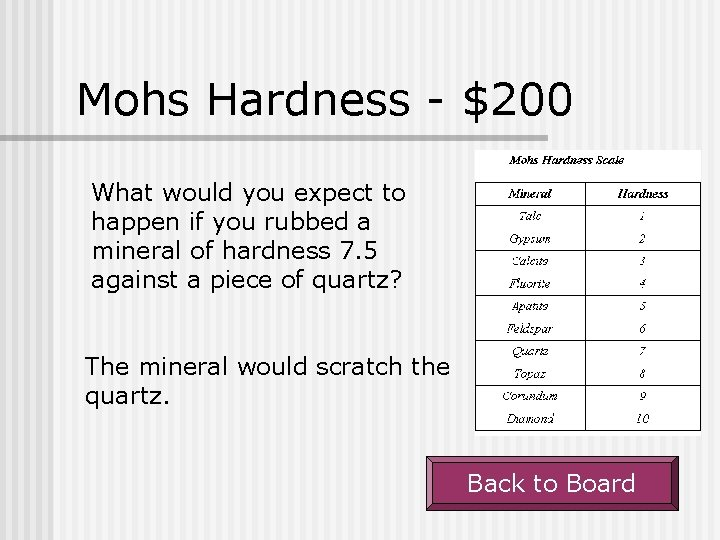 Mohs Hardness - $200 What would you expect to happen if you rubbed a