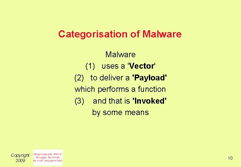 Categorisation of Malware (1) uses a 'Vector' (2) to deliver a 'Payload' which performs