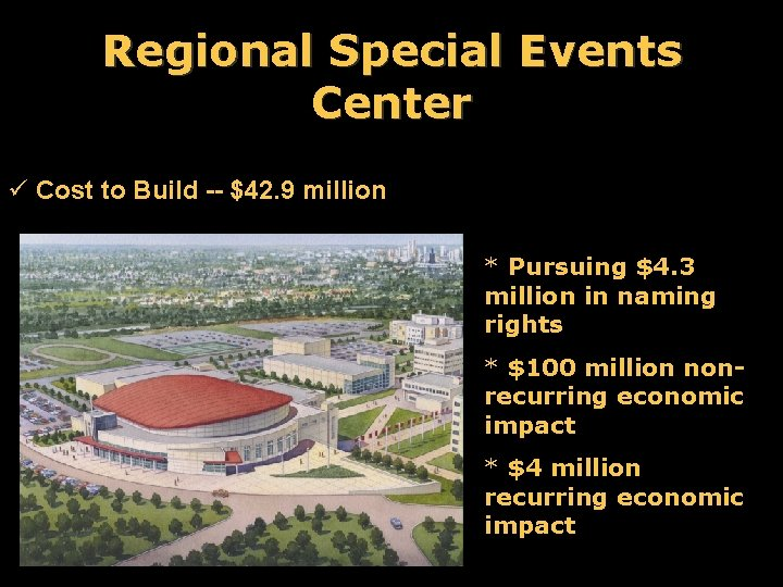 Regional Special Events Center ü Cost to Build -- $42. 9 million * Pursuing