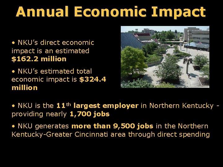 Annual Economic Impact • NKU's direct economic impact is an estimated $162. 2 million