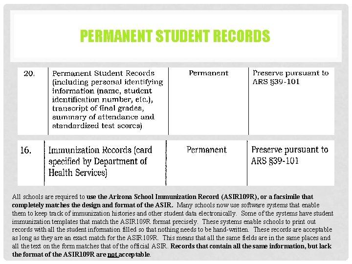 PERMANENT STUDENT RECORDS All schools are required to use the Arizona School Immunization Record