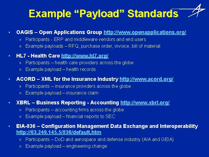 """Example """"Payload"""" Standards • OAGIS – Open Applications Group http: //www. openapplications. org/ »"""