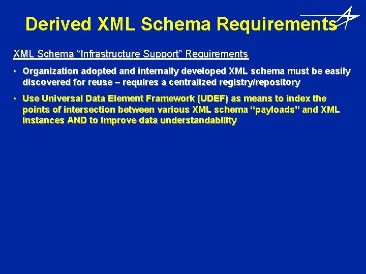 """Derived XML Schema Requirements XML Schema """"Infrastructure Support"""" Requirements • Organization adopted and internally"""