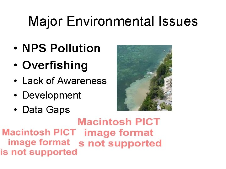Major Environmental Issues • NPS Pollution • Overfishing • Lack of Awareness • Development