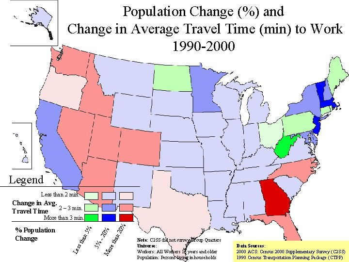 Population Change (%) and Change in Average Travel Time (min) to Work 1990 -2000