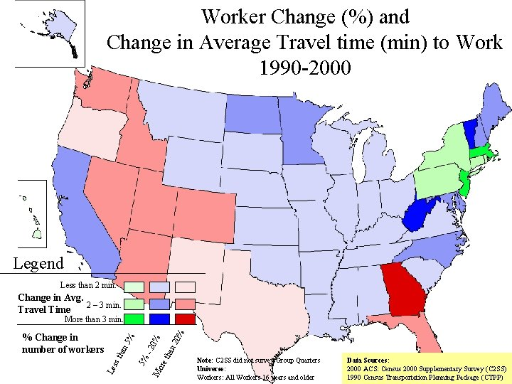Worker Change (%) and Change in Average Travel time (min) to Work 1990 -2000