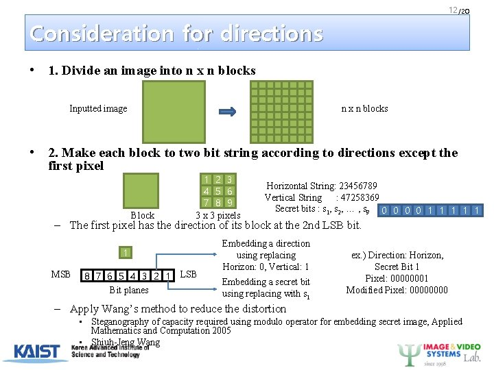 12 /20 Consideration for directions • 1. Divide an image into n x n