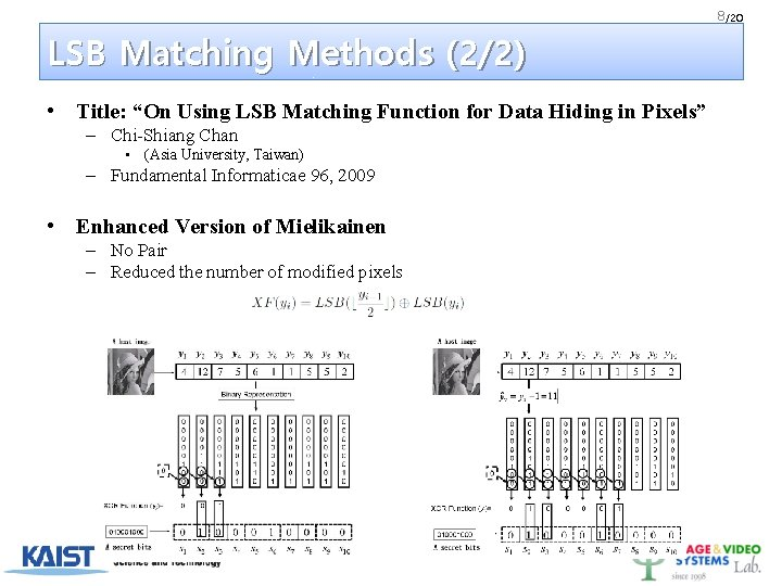 """8 /20 LSB Matching Methods (2/2) • Title: """"On Using LSB Matching Function for"""