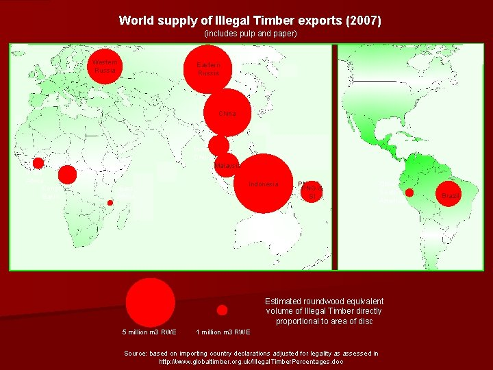 World supply of Illegal Timber exports (2007) (includes pulp and paper) Western Russia Eastern